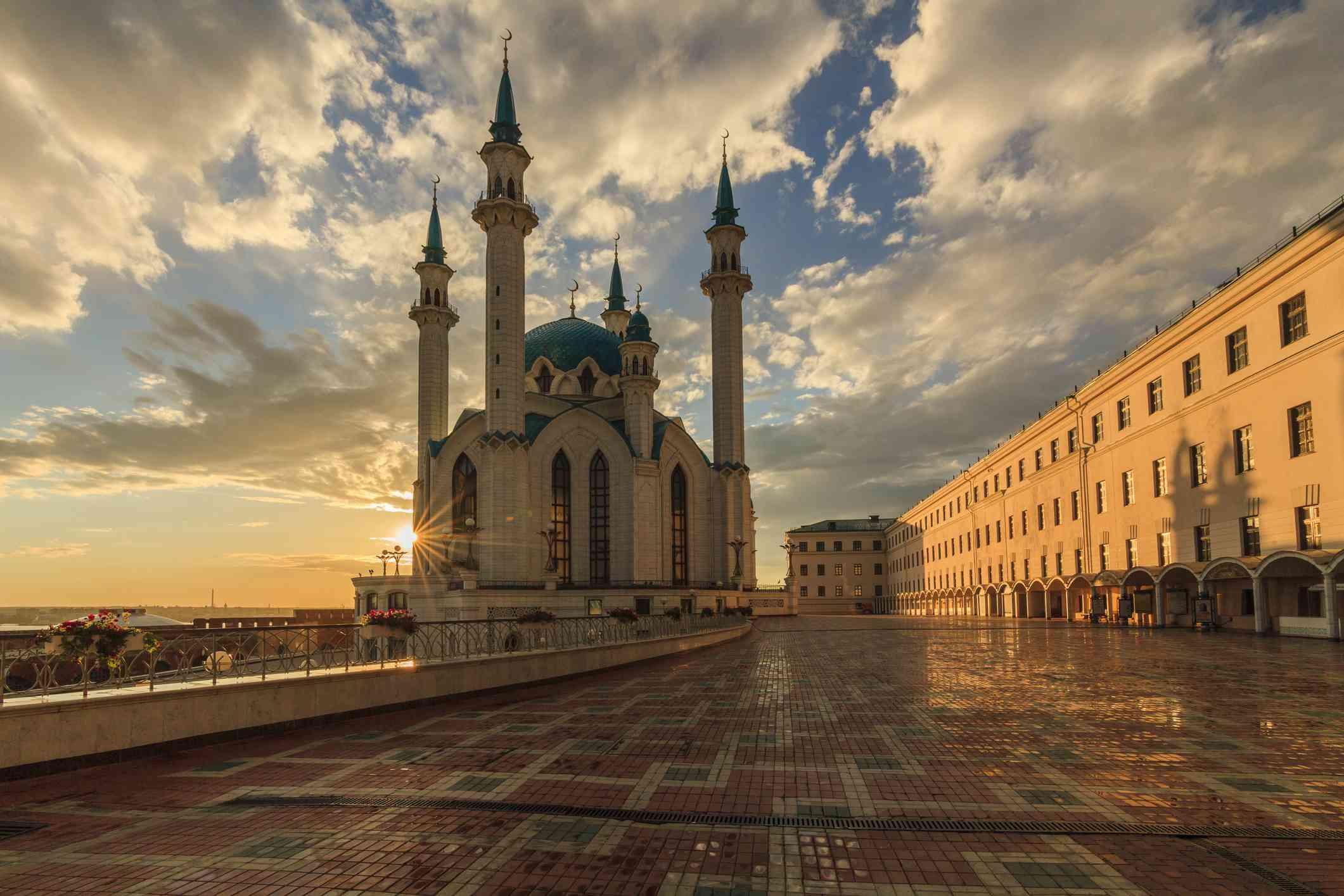 Kul Sharif Mosque in Kazan Kremlin at sunset