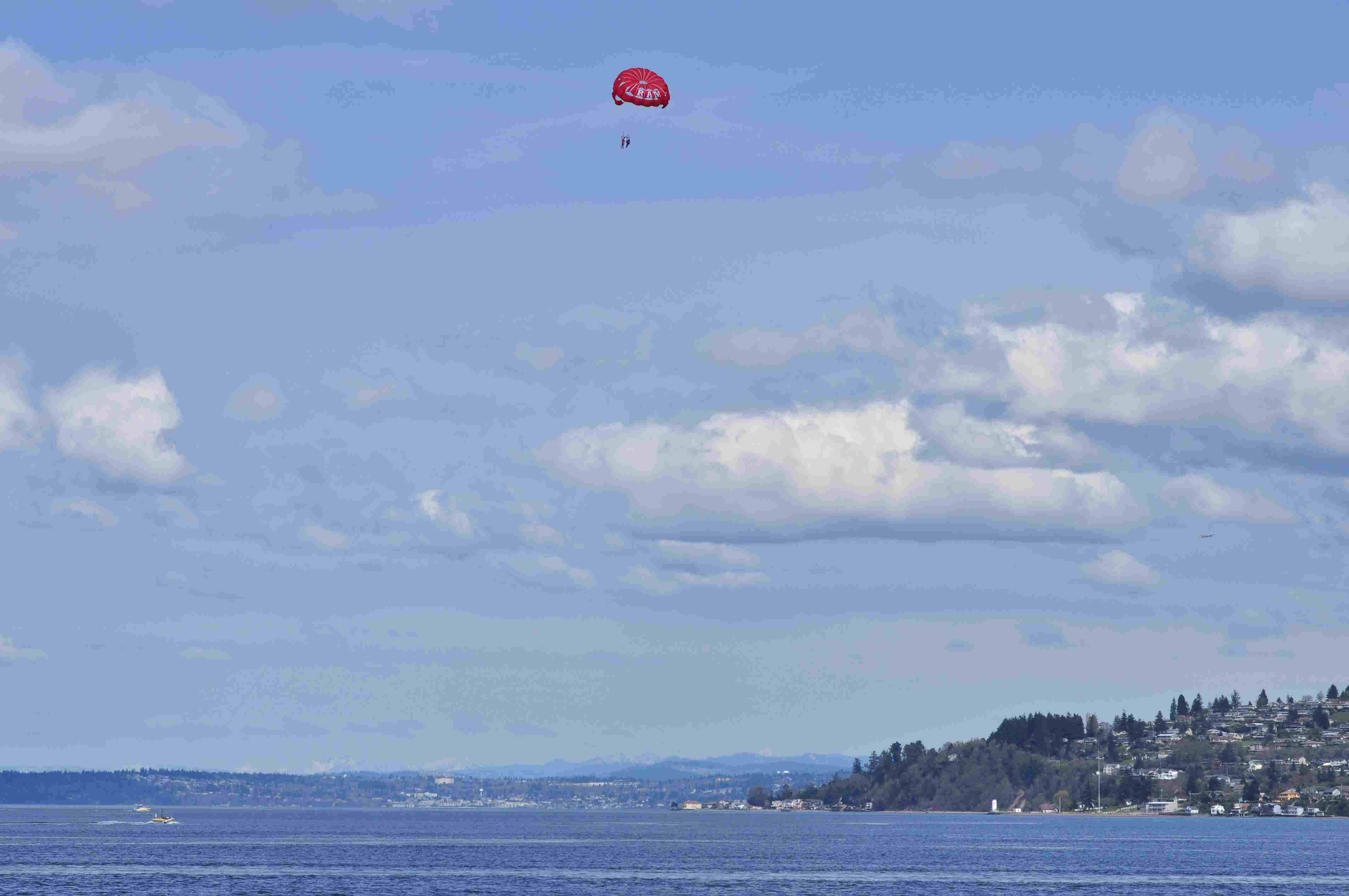 Parasailing over Commencement Bay