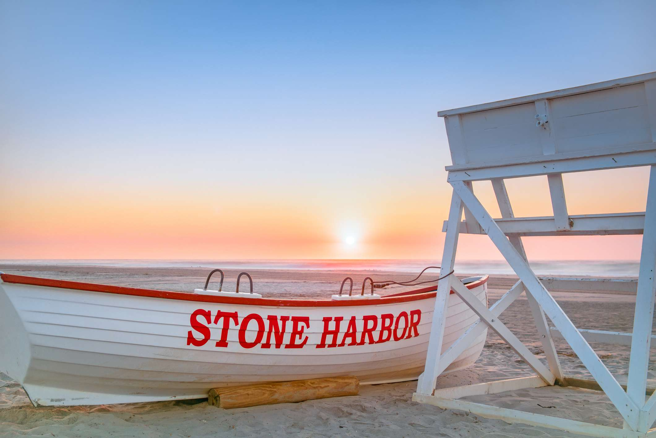 Stone Harbor Lifeguard boat and stand