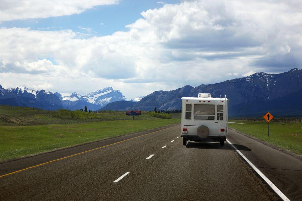 RV driving down highway