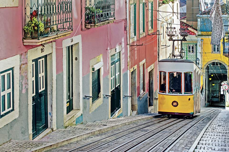 Lisbon in Portugal trolley on hills