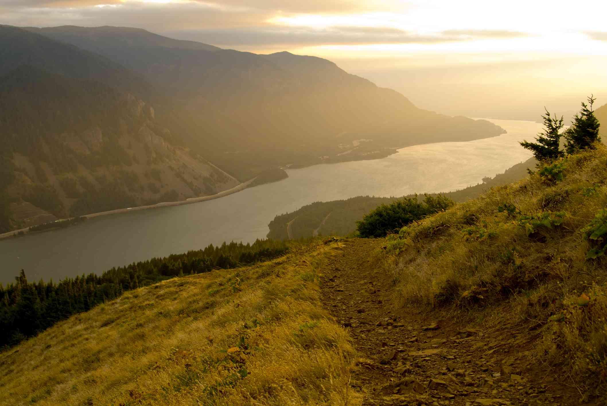 The Dog Mountain Trail descends into the Columbia River Gorge, Washington.