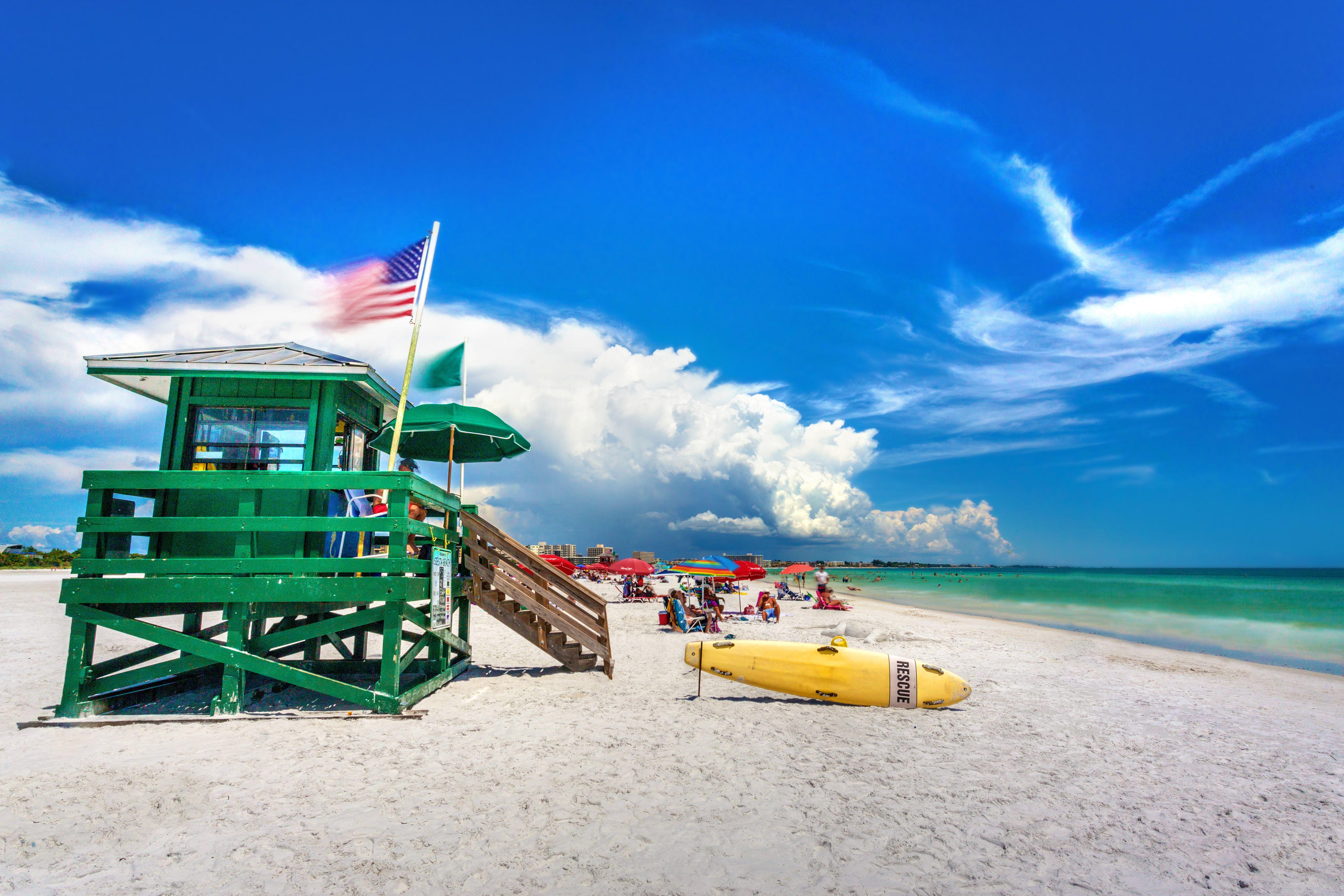 Casa y playa de la Guardia Costera, Siesta Key, Sarasota, Florida, EE. UU.