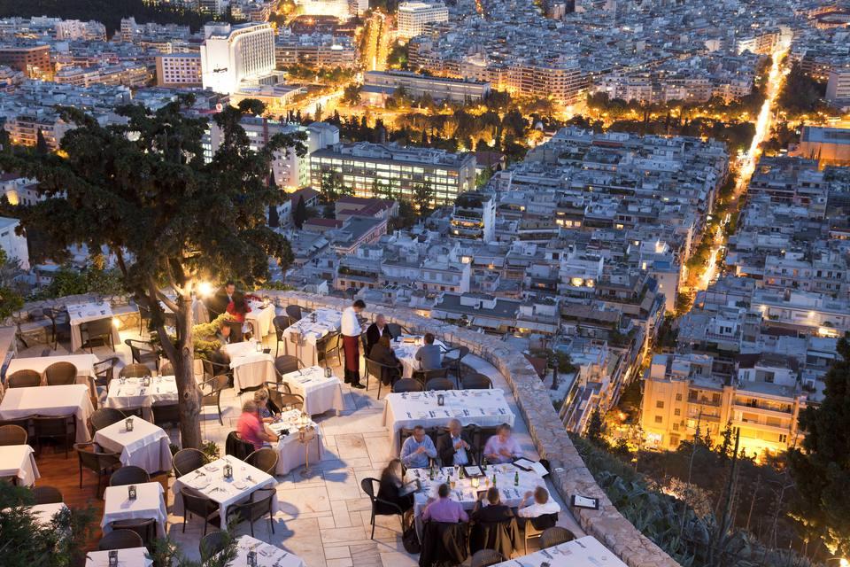 Greece, Athens, Lykavittos Hil, Orizontes Restaurant, Al Fresco Dining with View