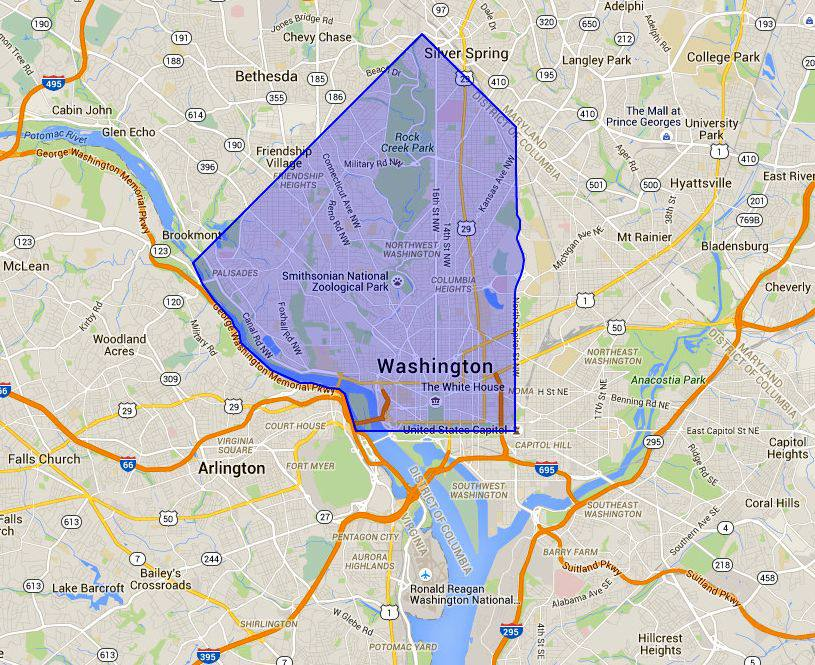 NW Washington DC Map