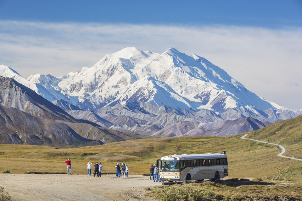 Tourists enjoy views of North Americas tallest mountain on a clear day in Denali National Park