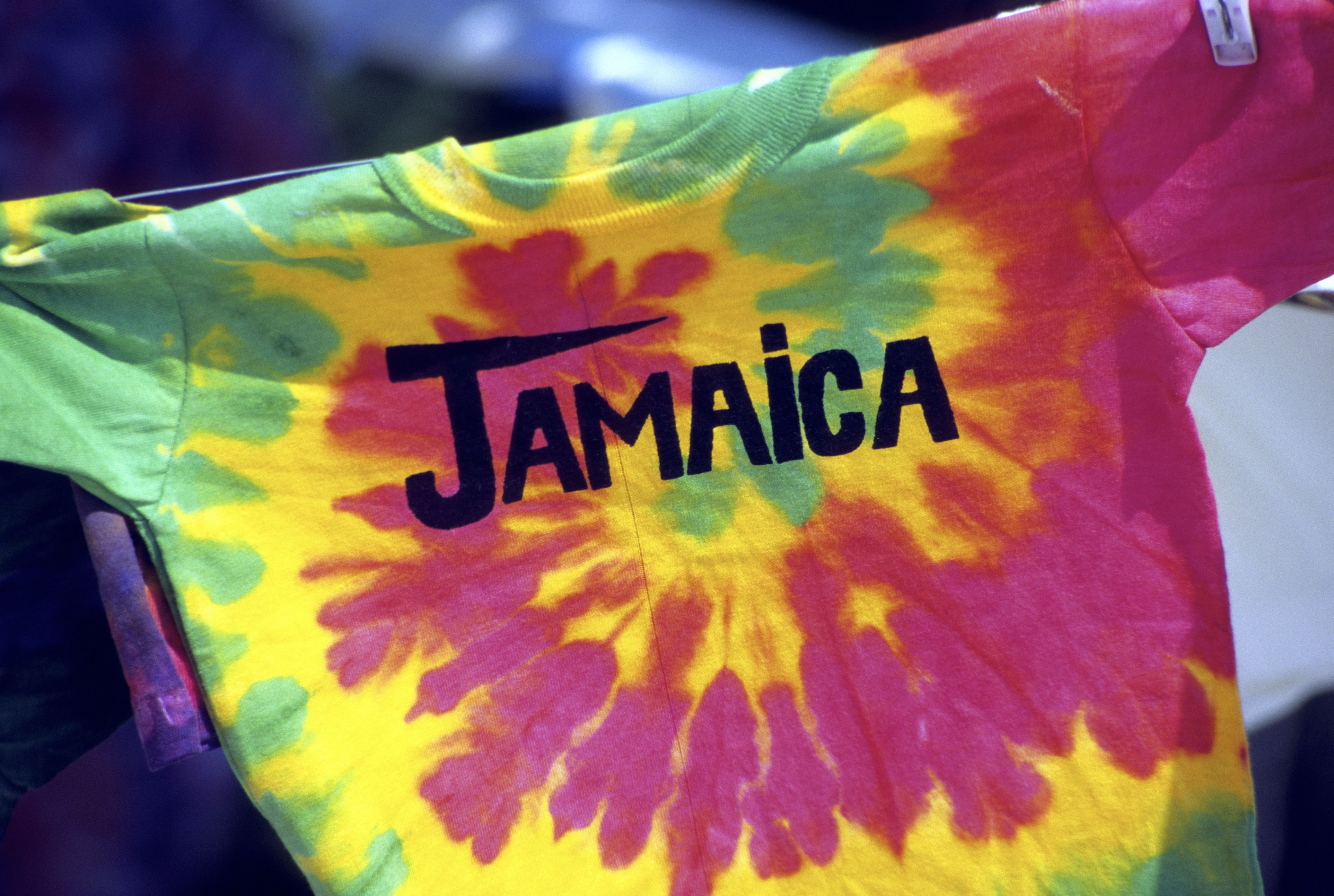 Tie dye t-shirt with the word 'Jamaica' written