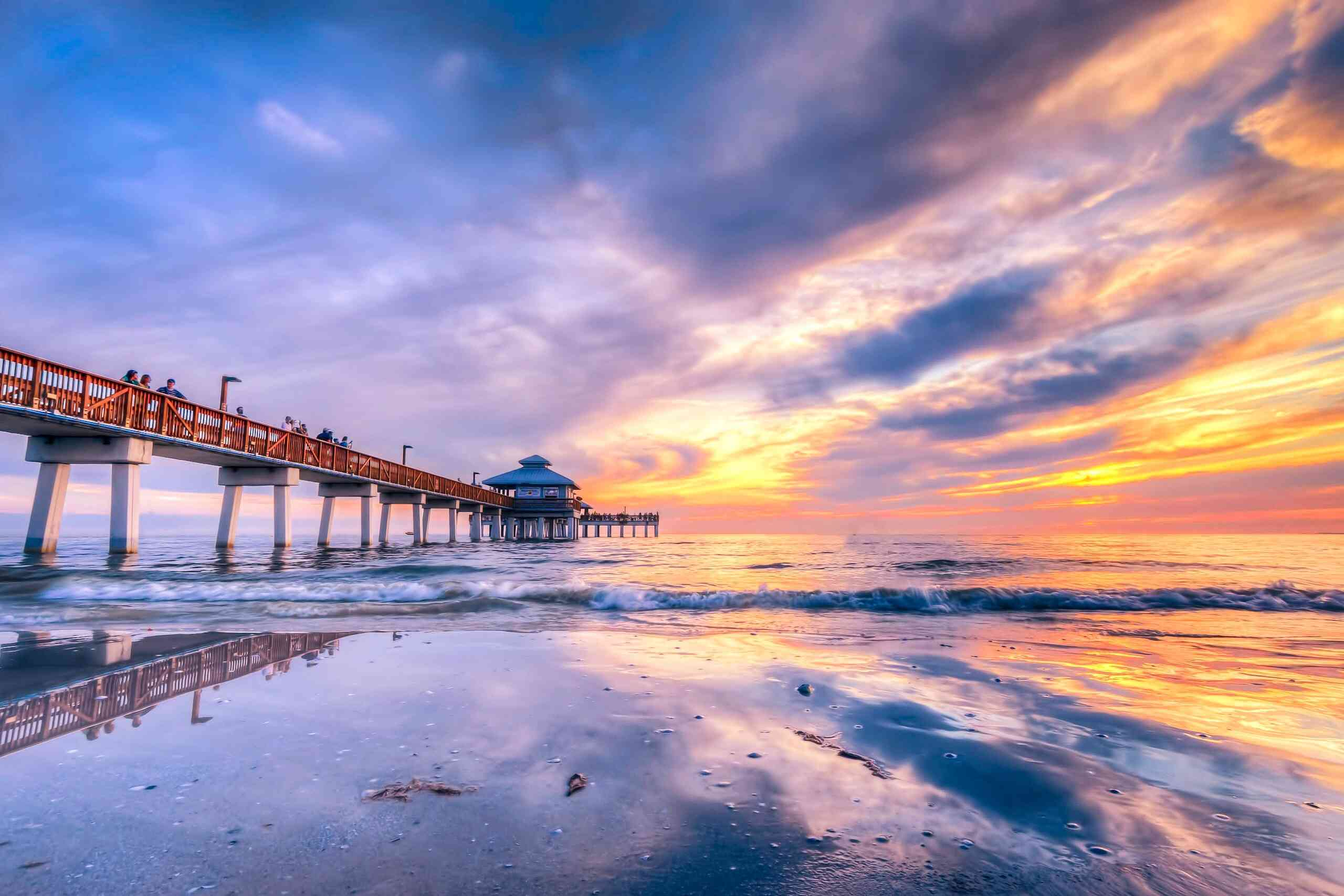 Pier Over Sea Against Sky During Sunset in Fort Myers