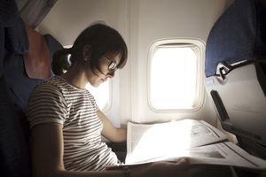 girl on airplane