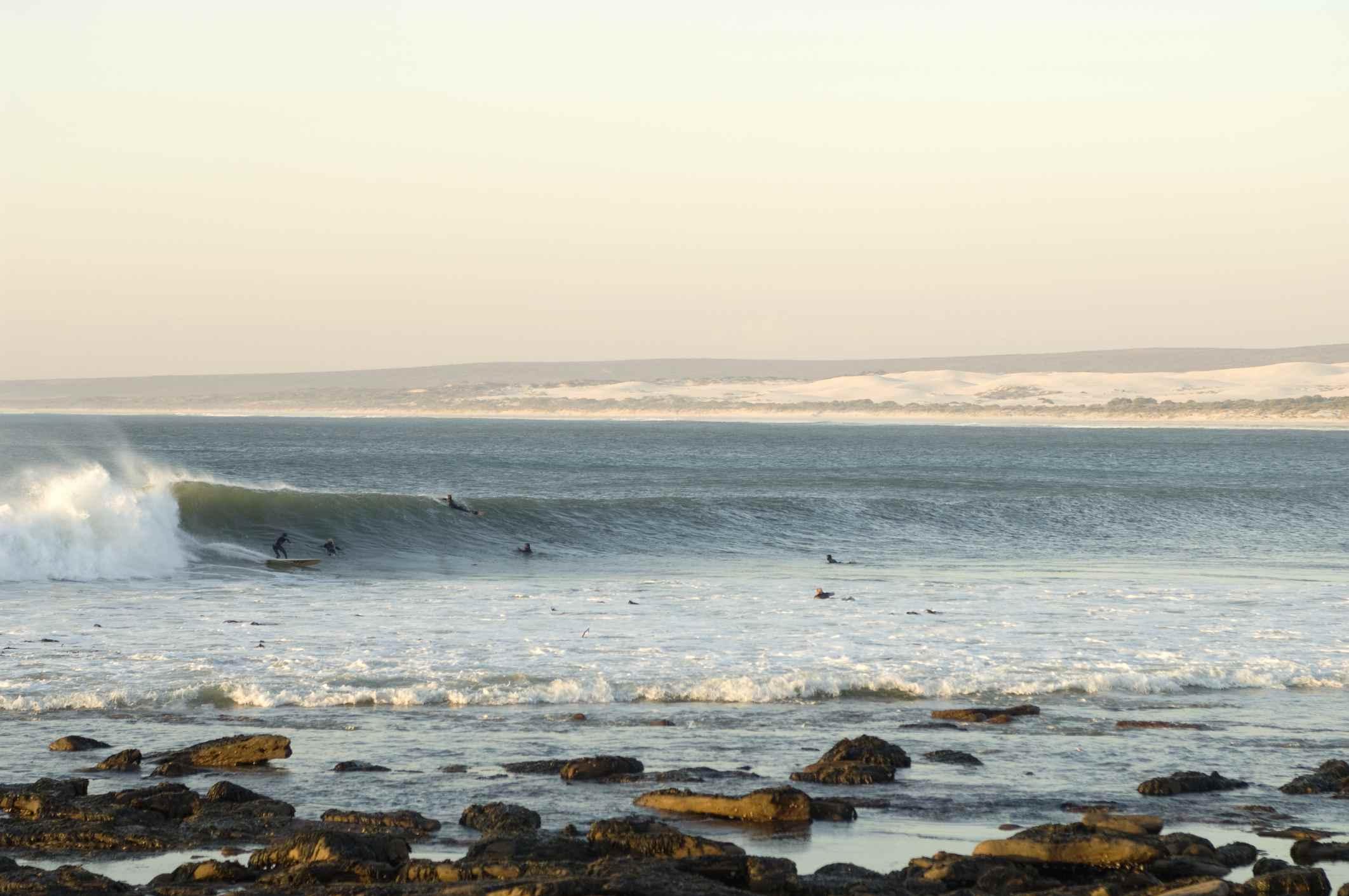 Surfistas nadando en el agua, Elands Bay, Provincia Occidental del Cabo, Sudáfrica