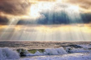 Glorious sky over the ocean at Robert Moses Beach New York State Park