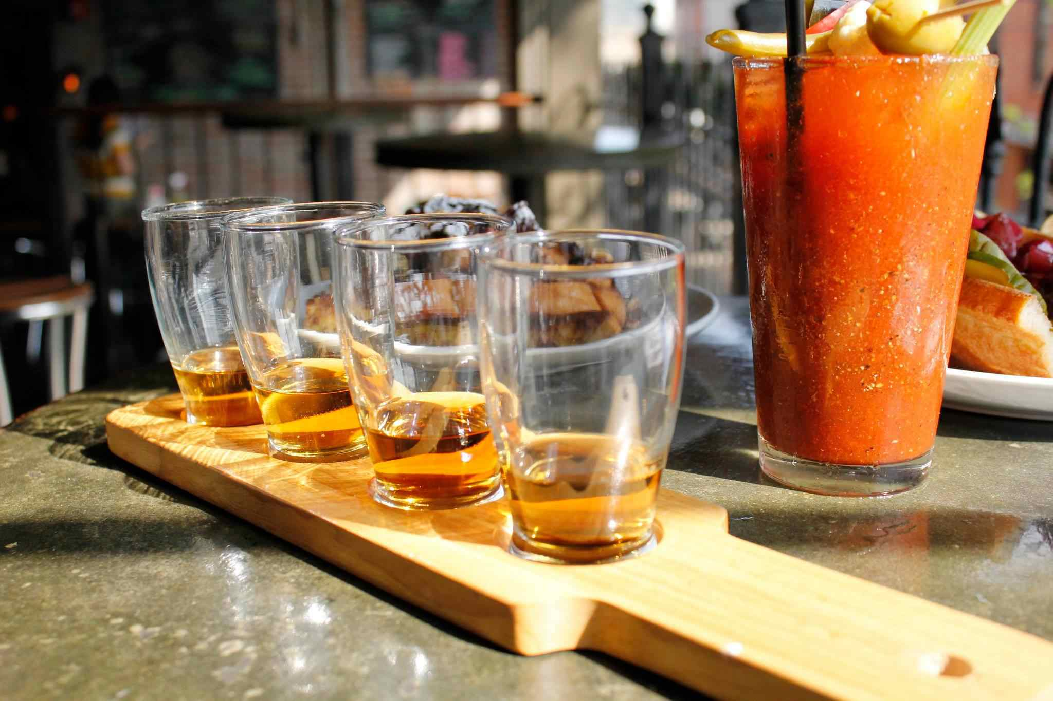 Standard Tap flight and bloody mary,