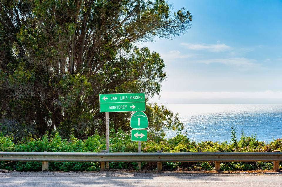 Directional Signs along Highway 1 in Big Sur California