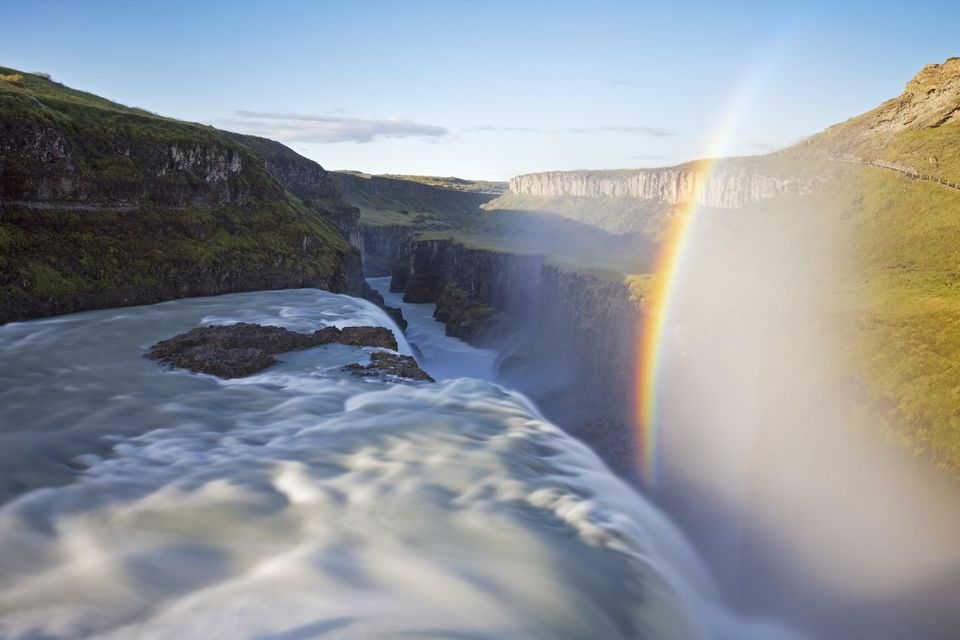 Waterfall Gullfoss with Rainbow, Golden Circle, Hvita River, Haukadalur, South Iceland, Iceland