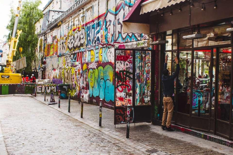 Graffitied street in Belleville
