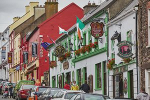 A view of one of the main streets in Dingle town, on the Dingle peninsula, County Kerry, Ireland.