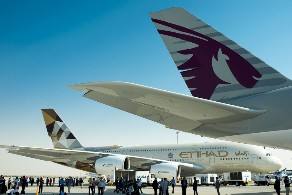 Airbus A380-800, manufactured by Airbus SAS and operated by Qatar Airways and Etihad Airways