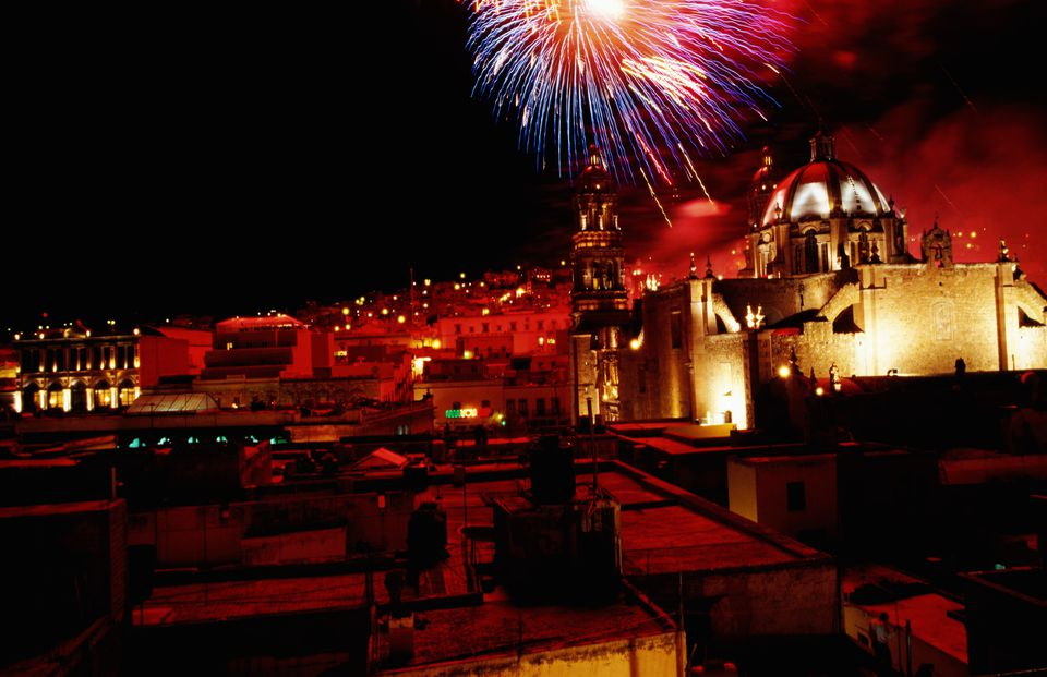 Indepence Day fireworks over the city's Cathedral.