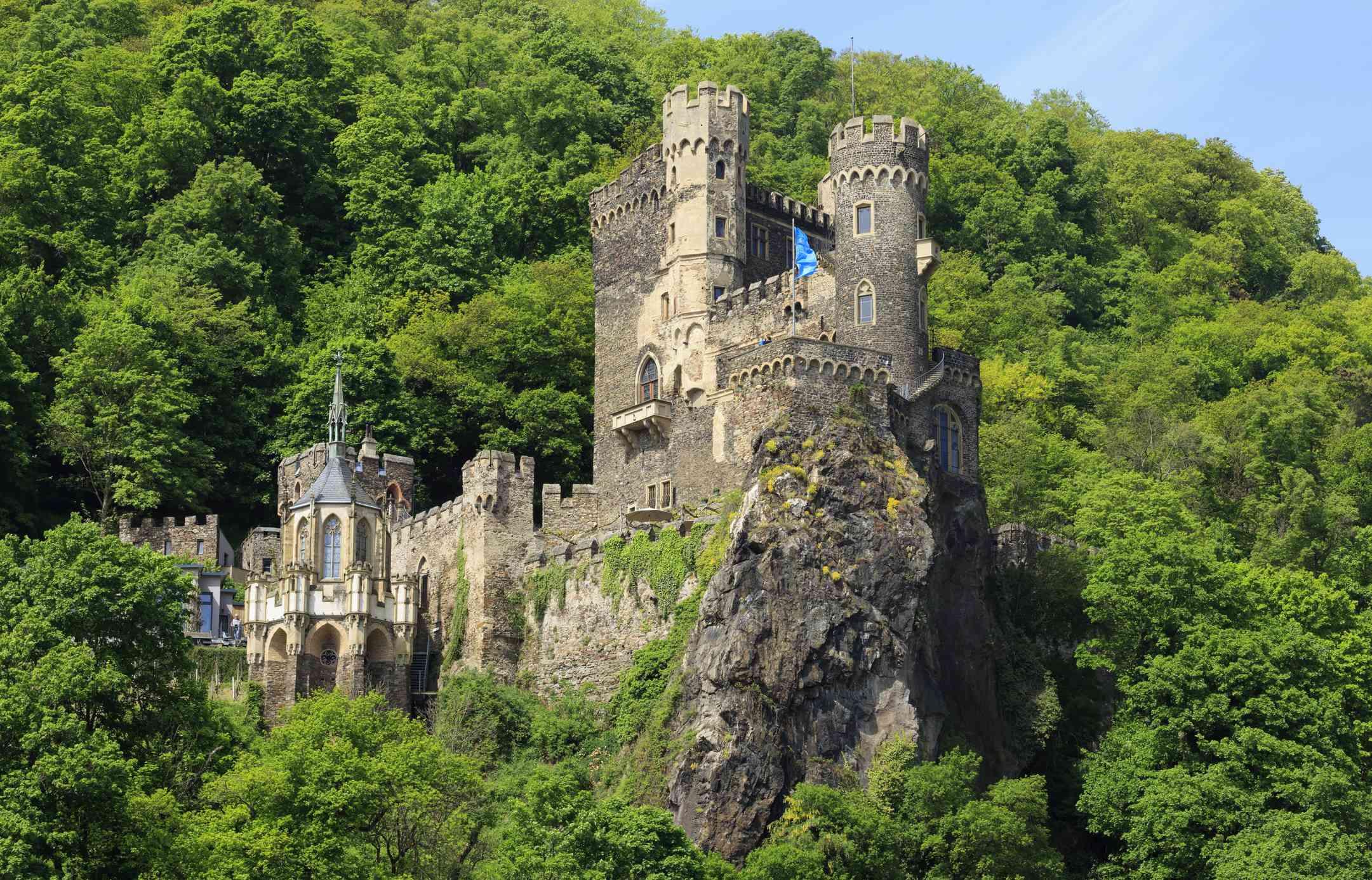 Burg Rheinstein, a 14th century fortification on the Rhine Gorge, Germany