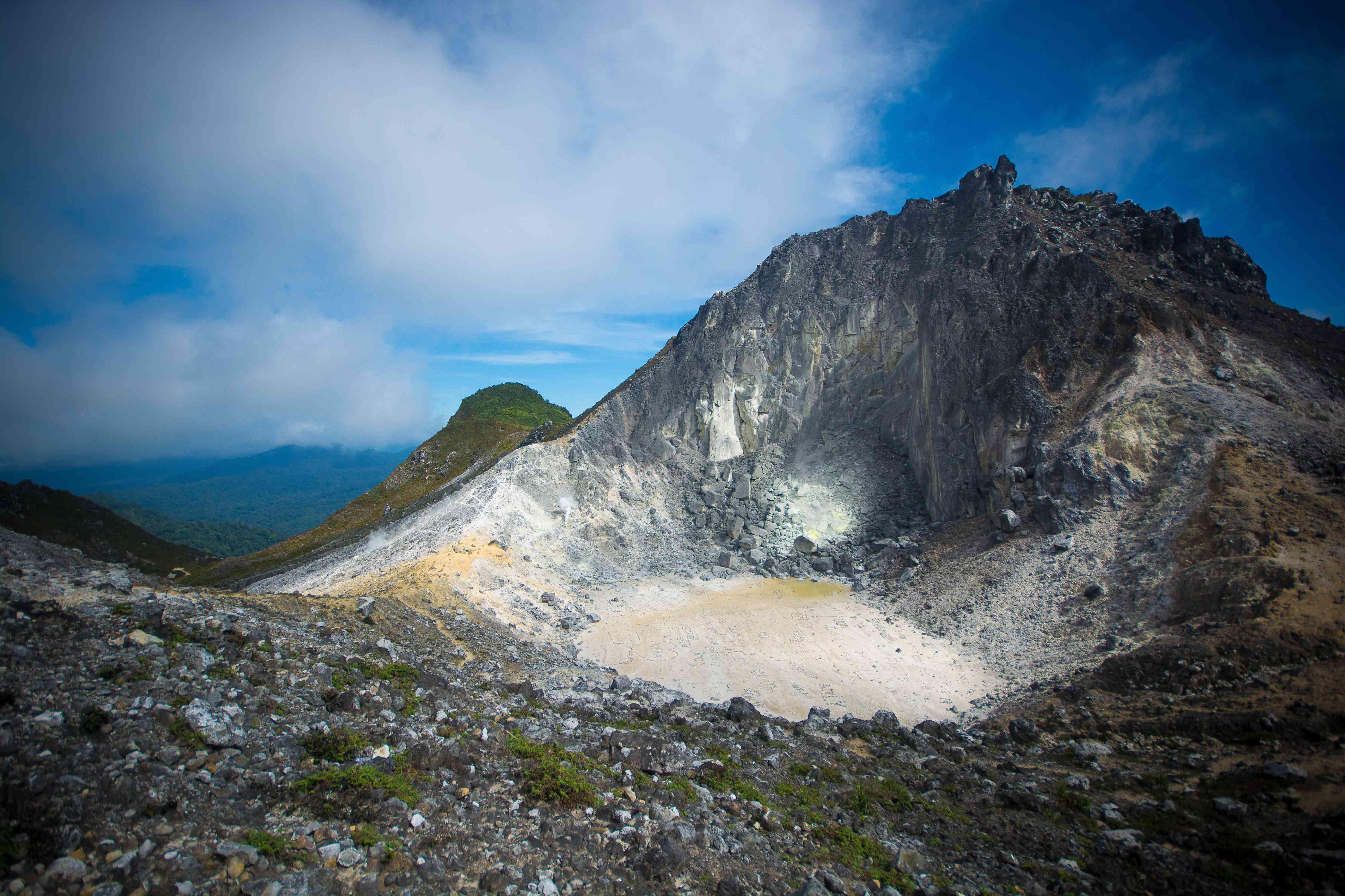 The caldera atop Gunung Sibayak in North Sumatra