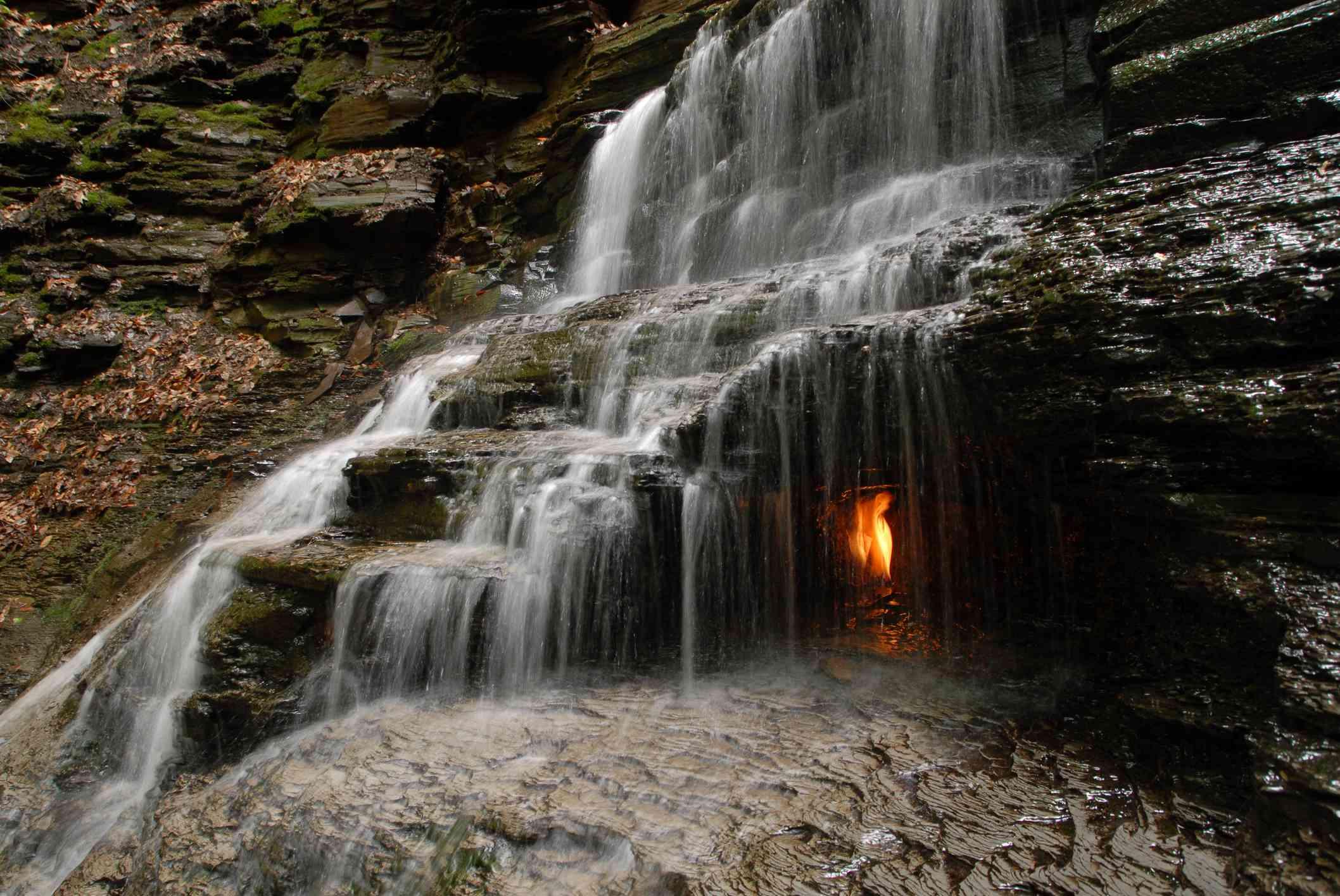 Eternal Flame Falls in Chestnut Ridge Park