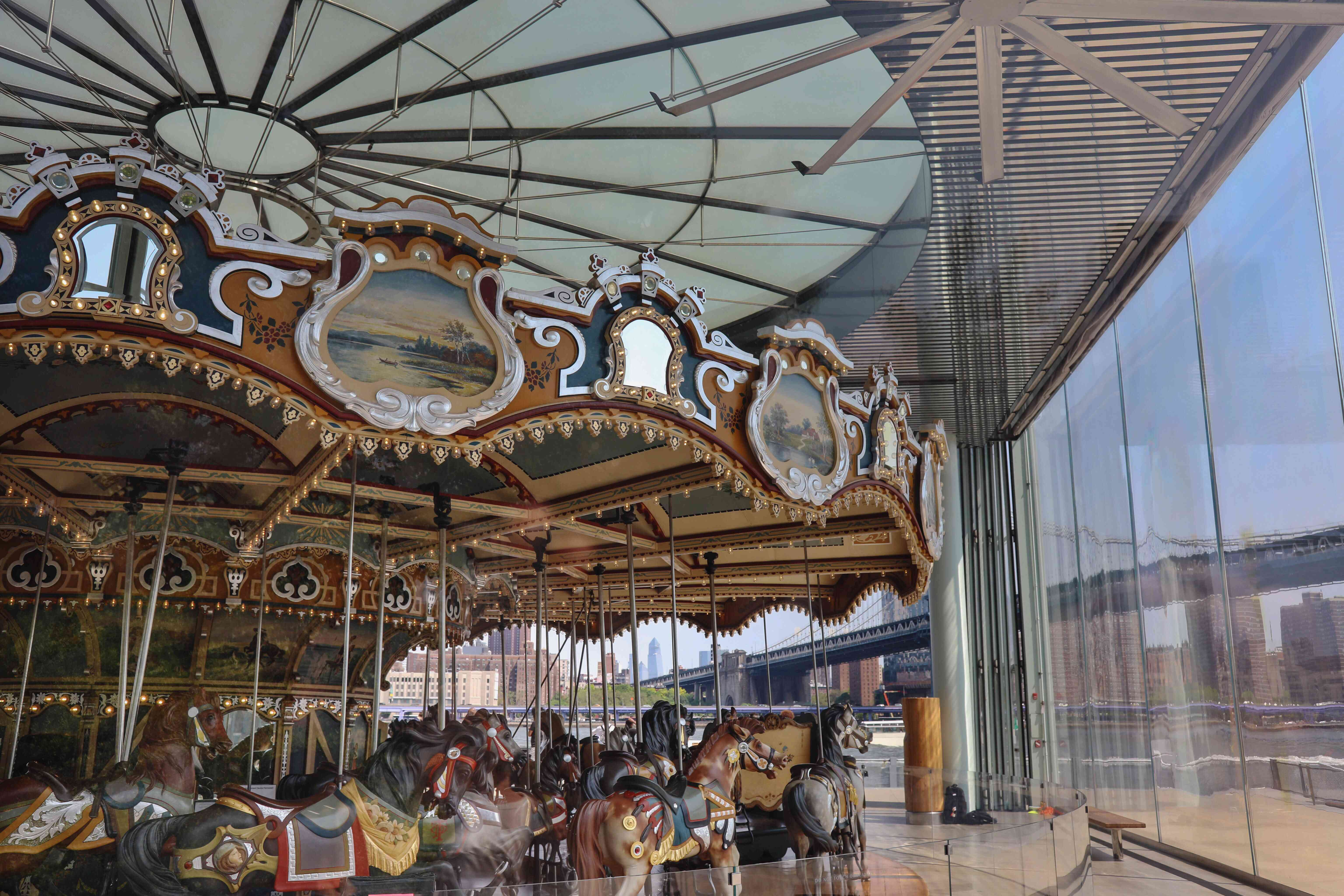 A detail shot of the decoration on Jane's Carousel