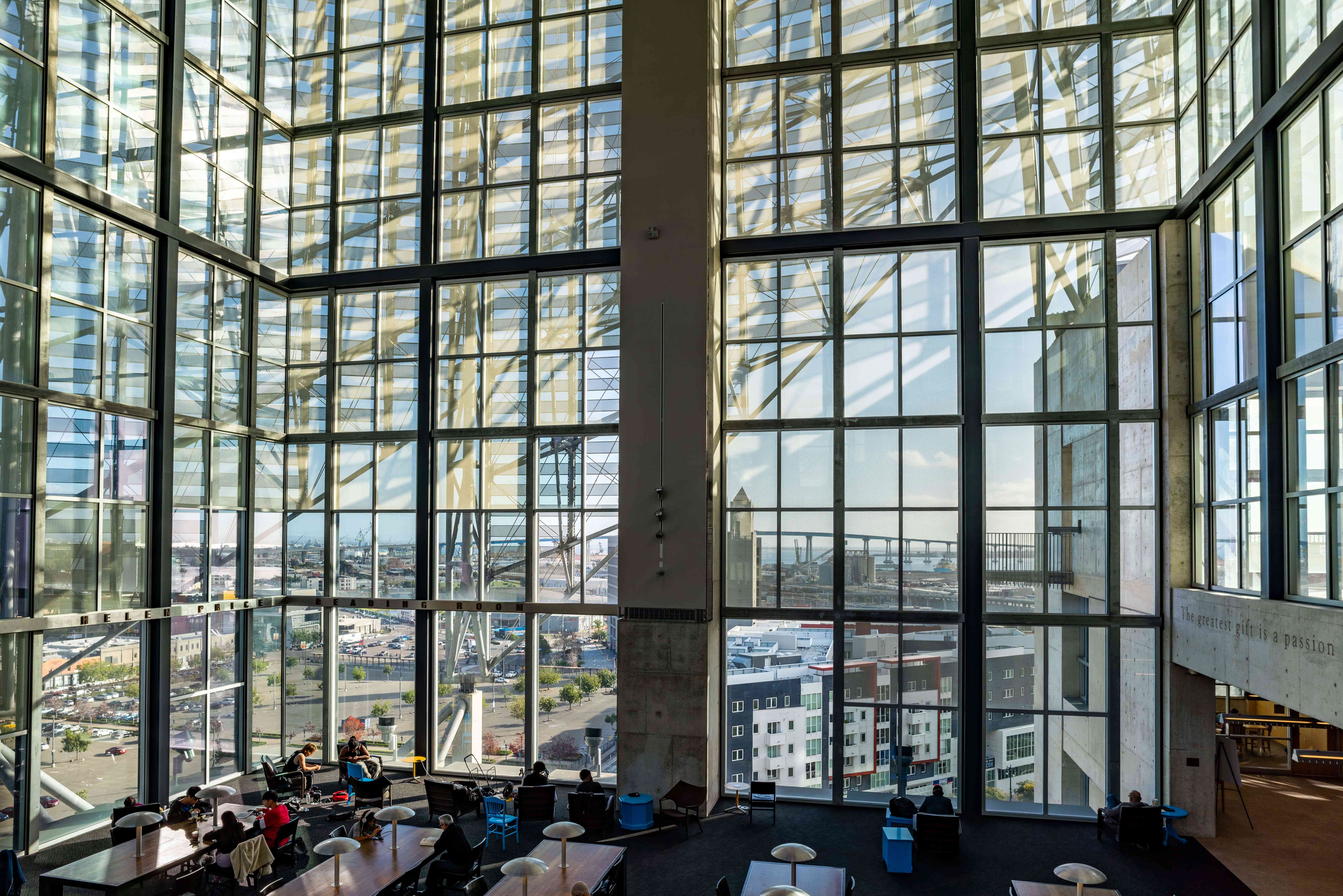 Glass walls of San Diego's Central Library