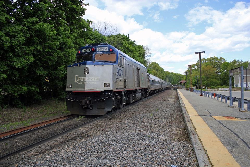 Downeaster train bound for Portland, Maine, passing though Ballardvale, Andover, Massachusetts
