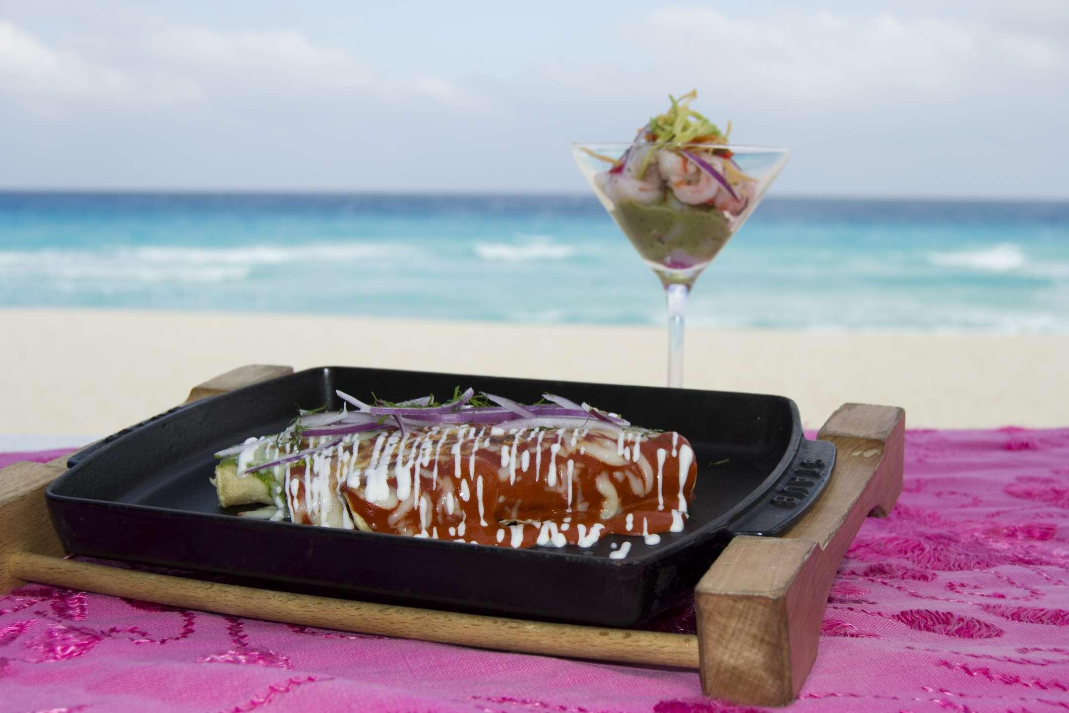 Beachside chicken enchilada and prawn cocktail at Ritz Carlton hotel.