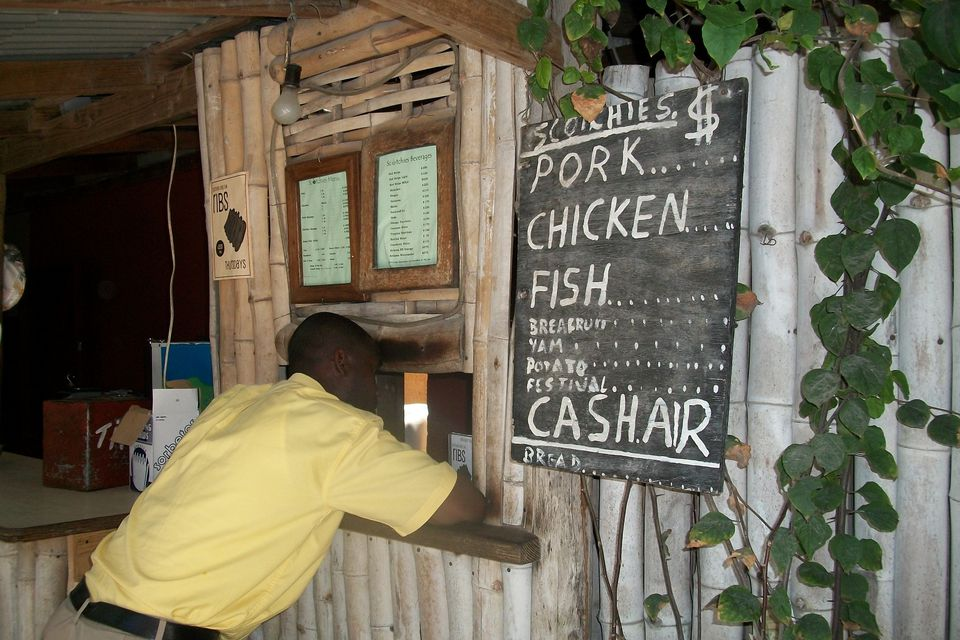 Ordering jerk at Scotchie's restaurant in Montego Bay, Jamaica