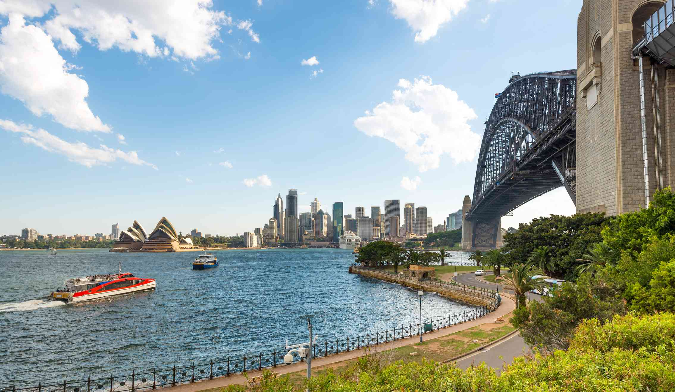 View of the Harbour Bridge and Opera House from Milsons Point