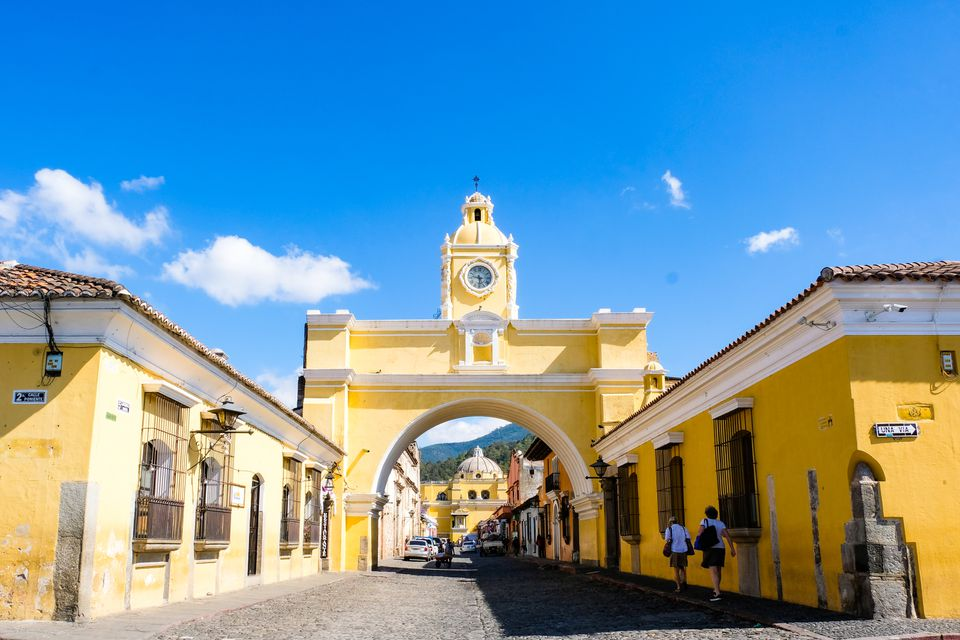 Bright yellow colonial architecture in Antigua