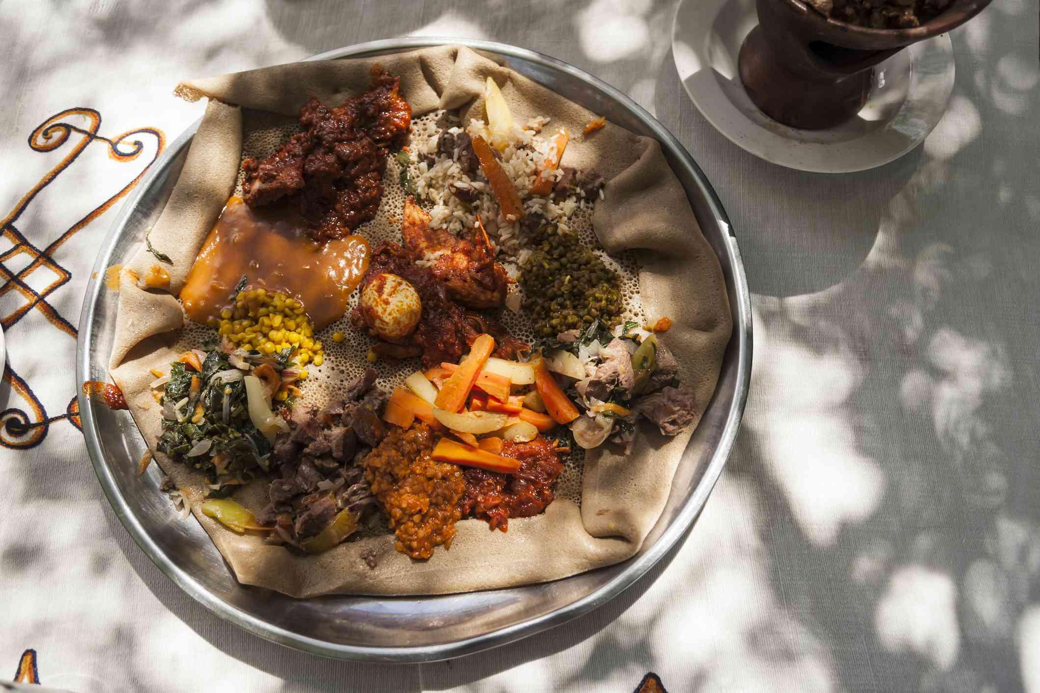 Traditional Ethiopian injera platter