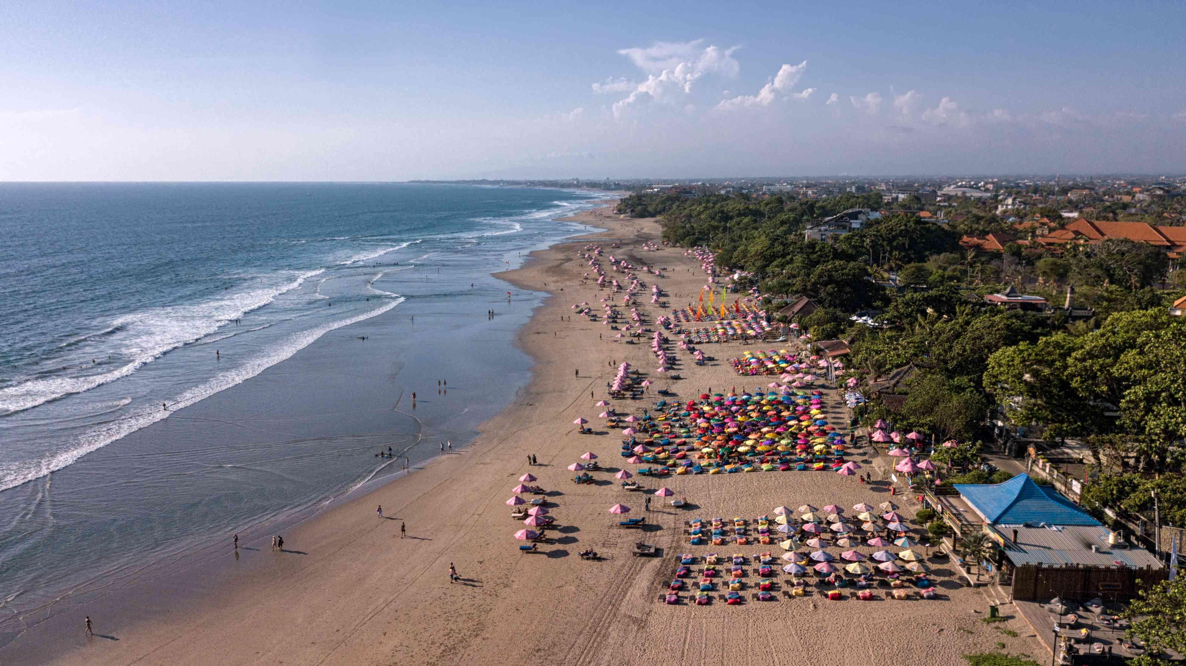 Aerial view of Kuta, Legian, and Seminyak beaches in Bali