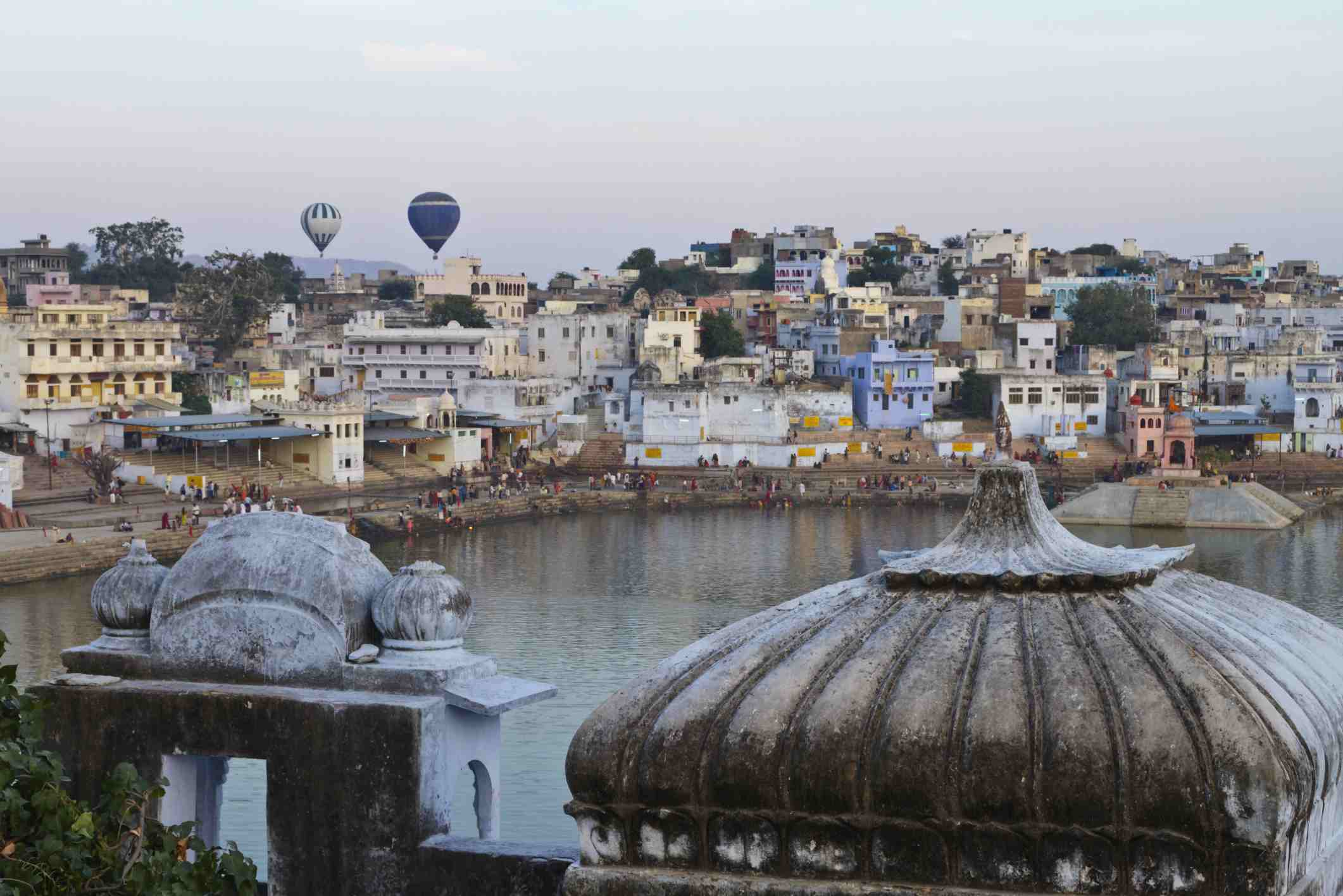 Hot air balloons in Pushkar, India.