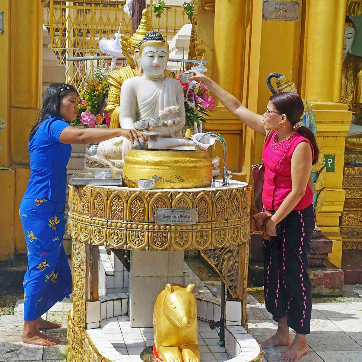 Burmese washing a Buddha image at Shwedagon, Yangon, Myanmar