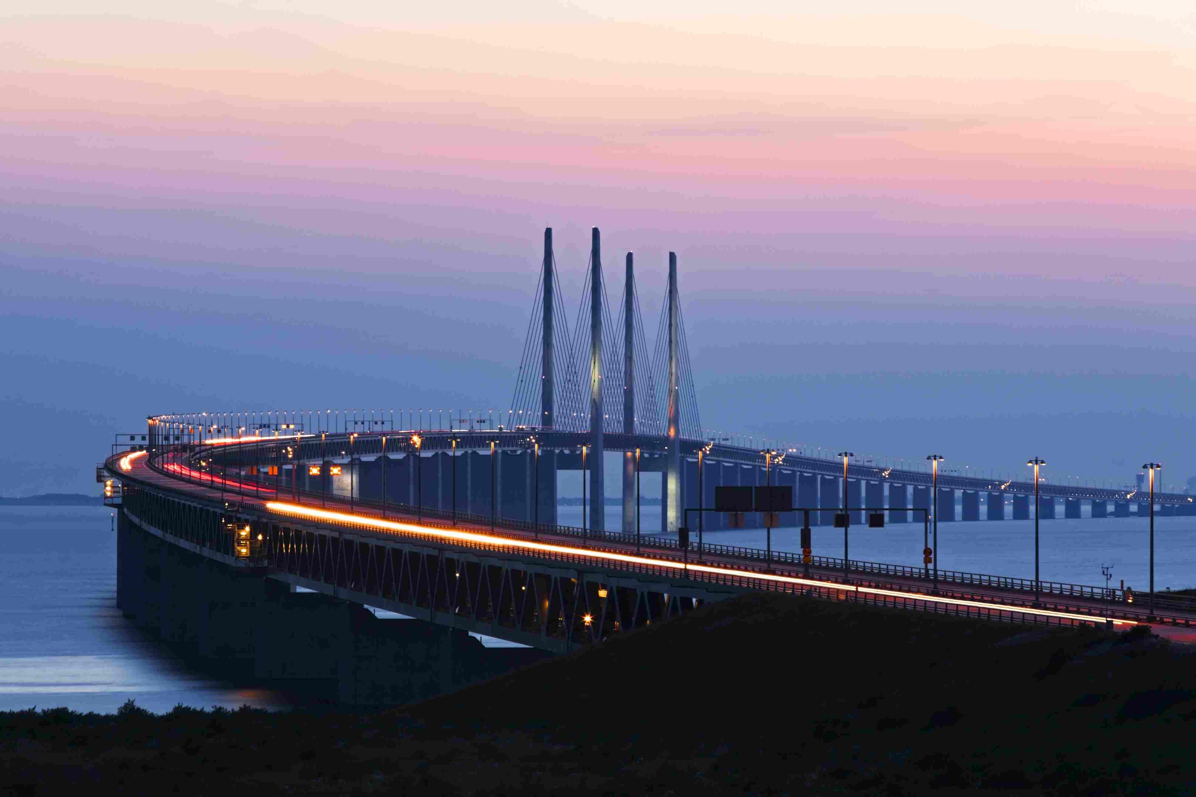 Oresund bridge linking Sweden and Denmark.