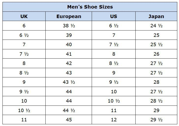 Men S Shoes Size Conversion Chart