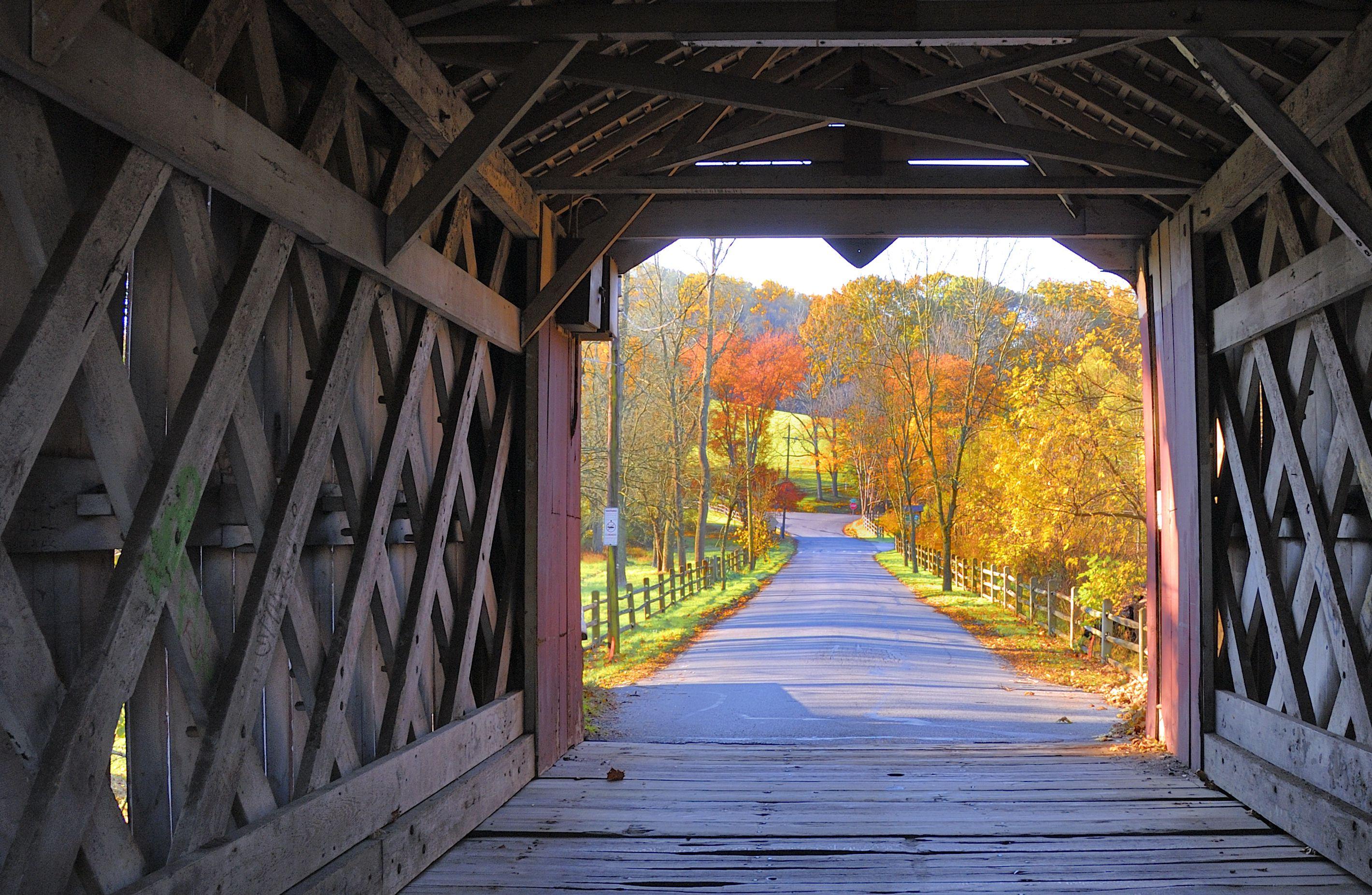 Delaware covered bridge in autumn