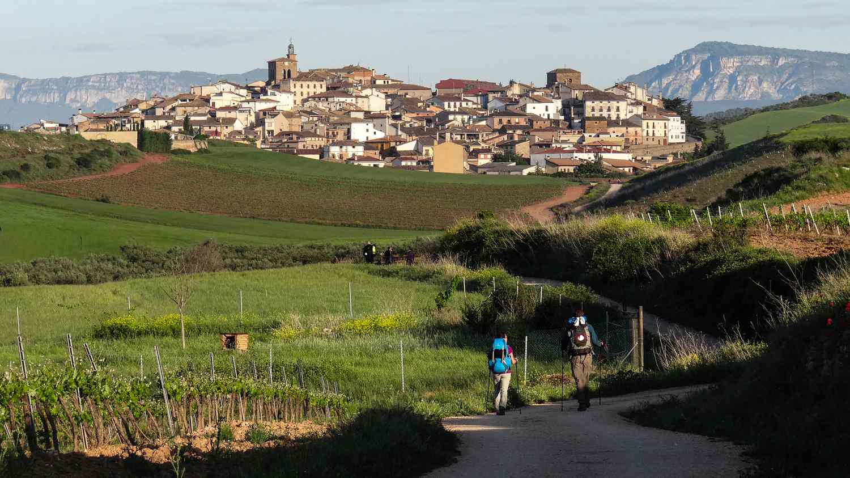 People walking on the Camino de Santiago path in Spain