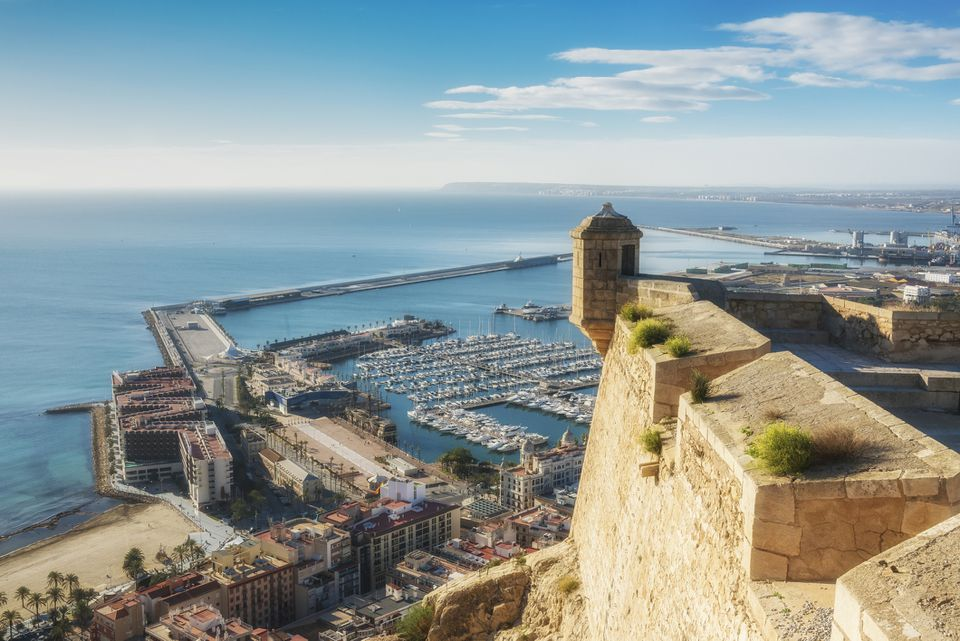 View from Santa Barbara castle to marine Alicante, provence Valencia, Spain