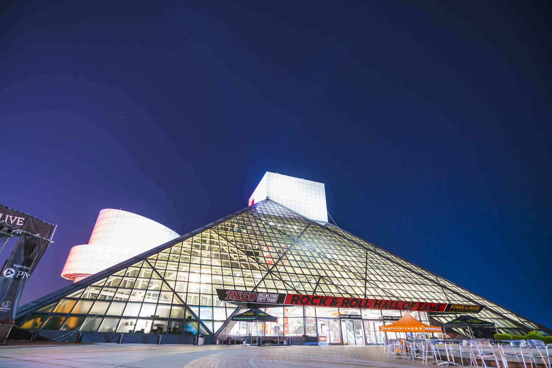 Cleveland Rock and Roll hall of fame at night