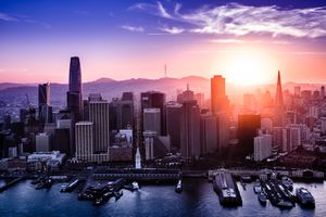 San Francisco Downtown Aerial View at Sunset, California