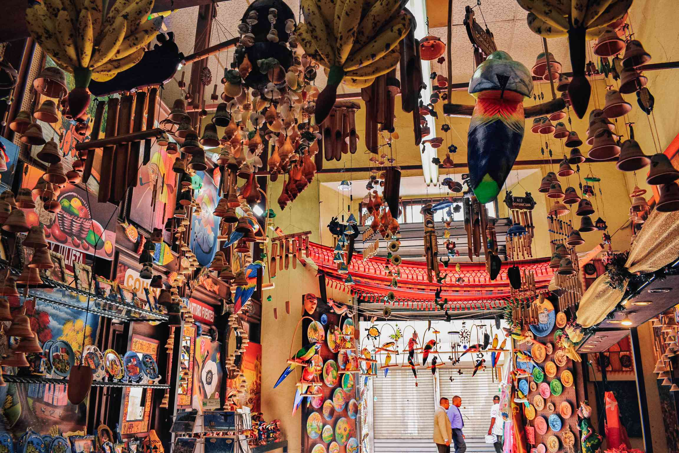 A shop filled with colorful handmade souveniers