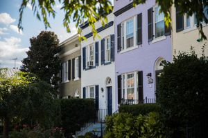 a row of colorful houses in Georgetown