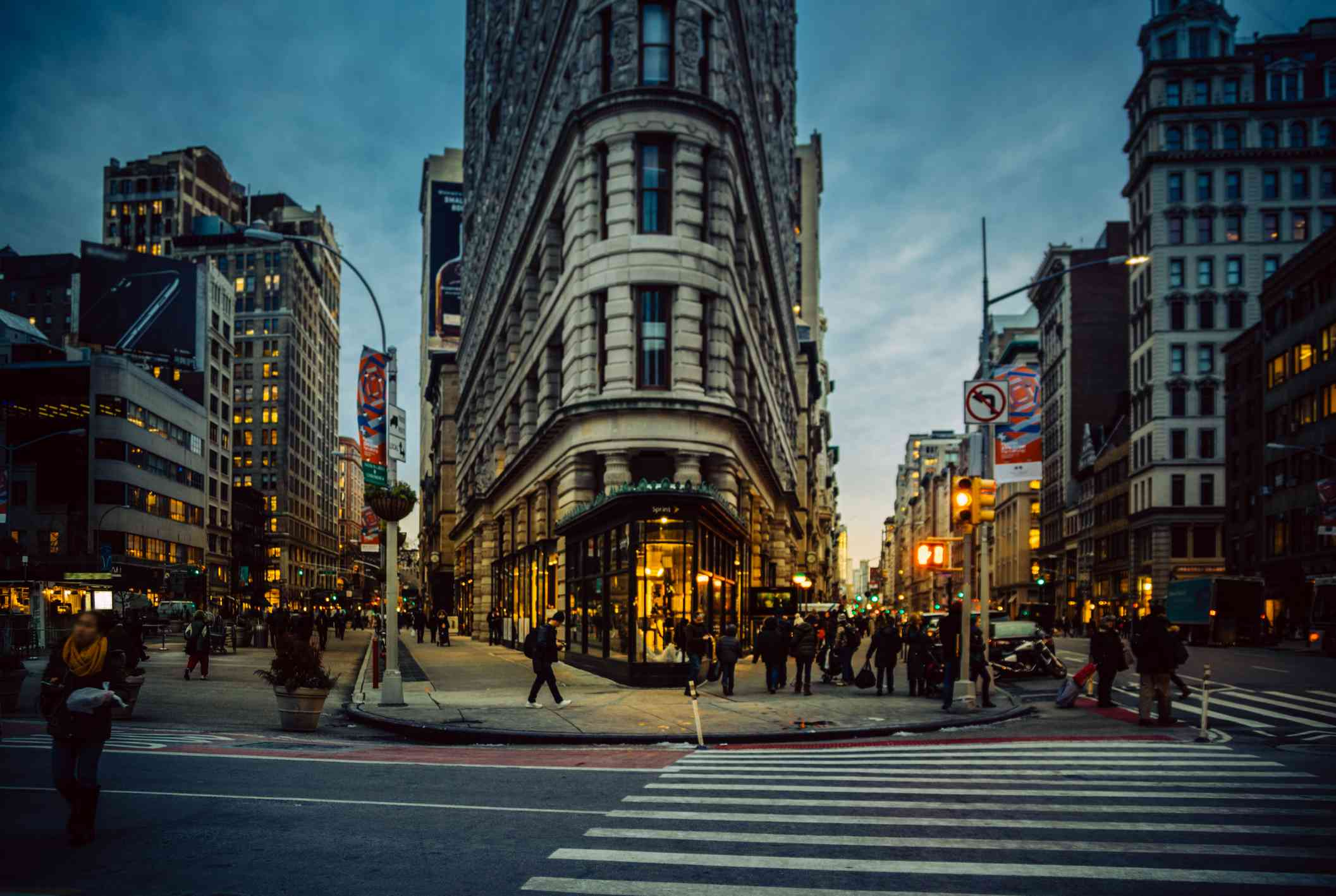 The Flatiron district in the evening