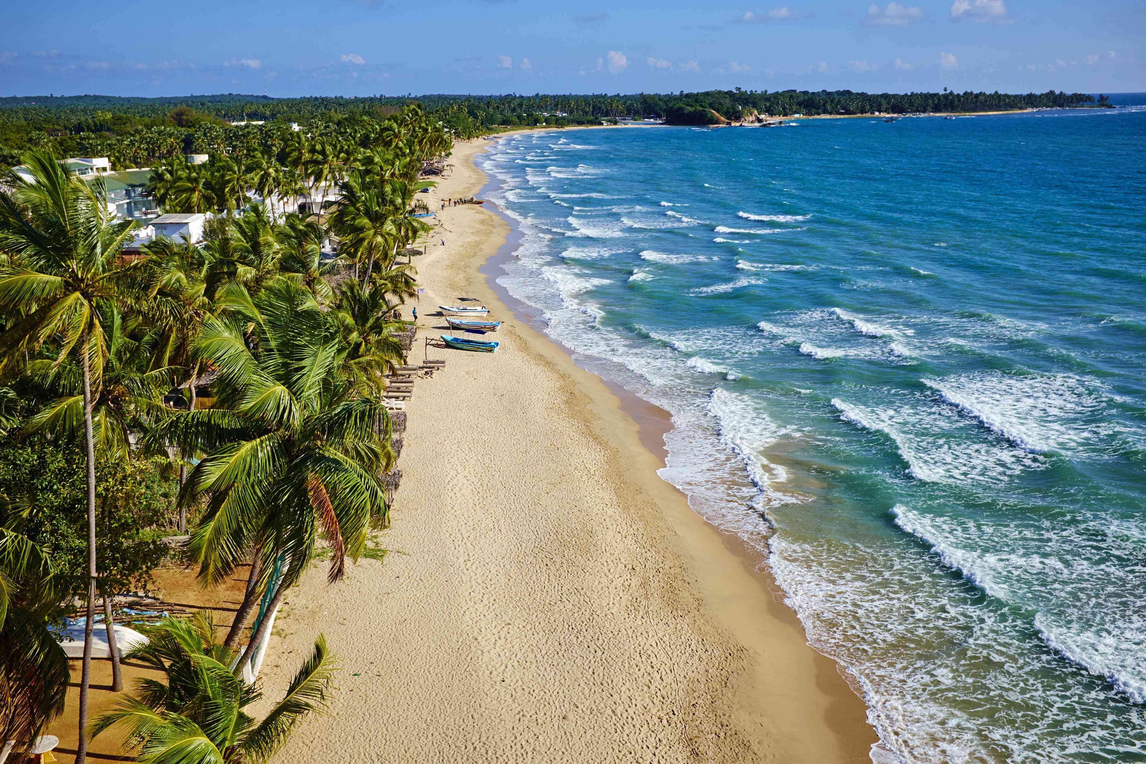 Aerial view of Uppuveli Beach at Trincaomalee, Sri Lanka