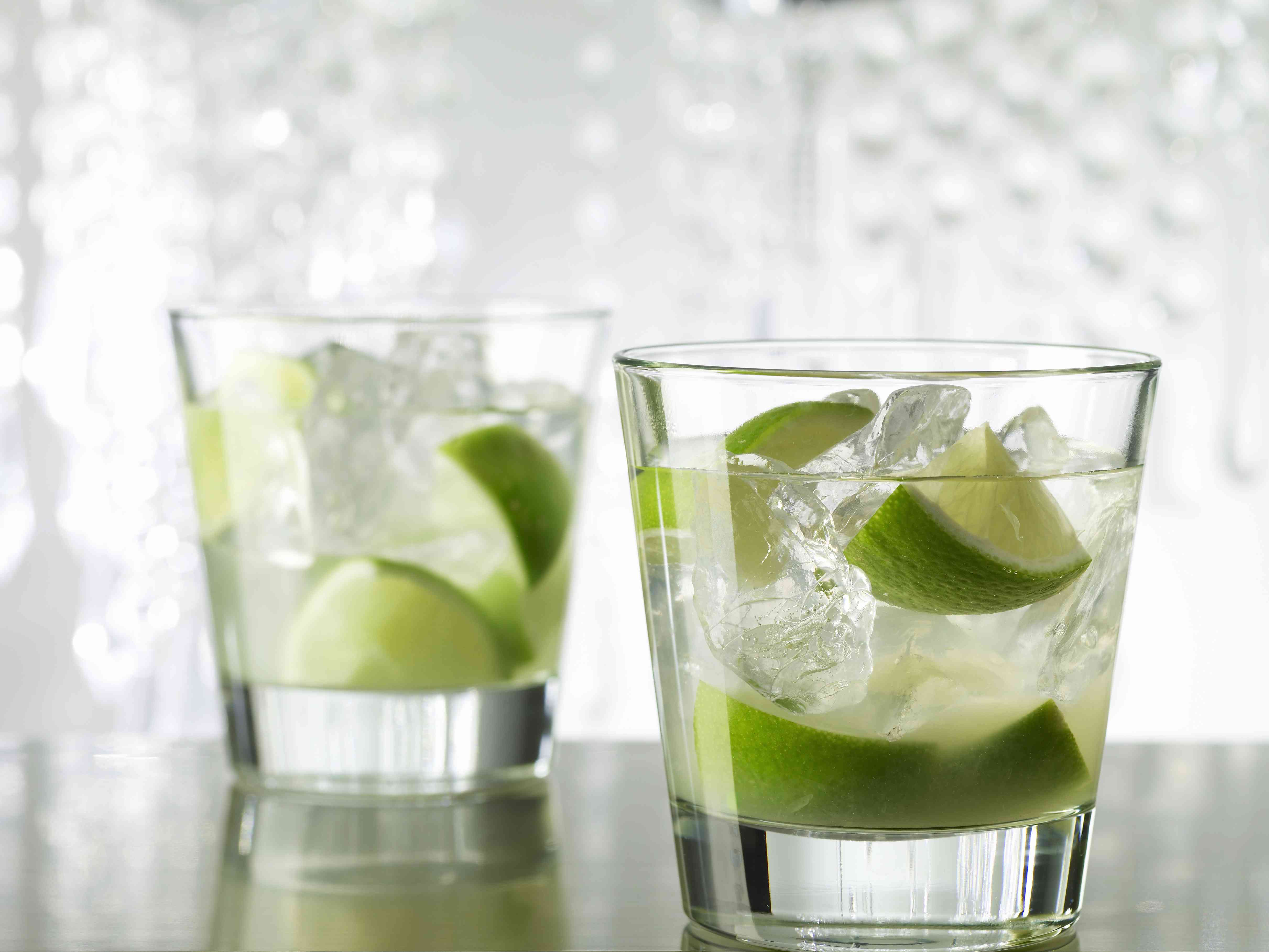 Two Caipirinha Cocktail Drinks