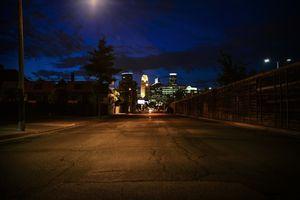 Dark Minneapolis City Skyline at Night