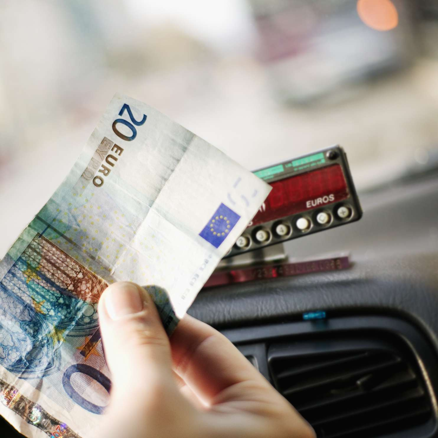 Taxi meter and euros